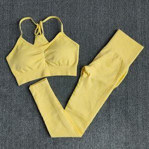 Wareball 4 Größen mit hohen Taille Leggings + Push-Up-BH Nahtlose Gym Frauen Fitness Yoga Set Sportanzüge Workout Sport