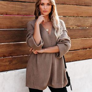 Женские осенние и весенние свободные V-образные свитера Comfort с длинными рукавами вязаные перемычки