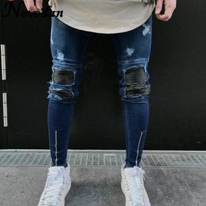 New Kanye West Schwarz Ripped Männer mit Löchern Denim Superenge Marke Slim Fit Push Up Jean Pants Plus Size Biker Jeans