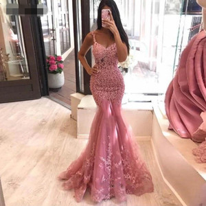 2021 Mermaid Lace Appliques Evening Dresses Spaghetti Straps Women Special Occasion Dress applique Tulle Formal Prom Party Gowns