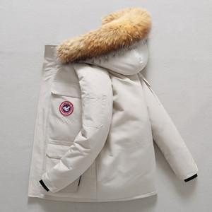 Black Friday Special Canadian Für Männer und Frauen Paare Große Down-verdickte Kürze-Jacke mit Waschbär-Hundehalsband 2 Nozq
