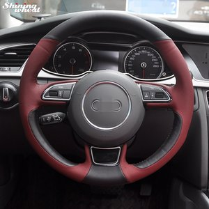 DIY Wine Red Leather Black Leather Car Steering Wheel Cover for Audi A1 A3 8V A4 B8 A5 8T A6 A7 G8 A8 D4 Q3 Q5