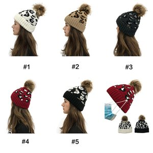 DHL Free Criss Cross Pom Pom Beanies Women Girl Winter Knitted Hats Outdoor Ponytail Beanie Detachable Pompom Hat Leopard Cross Cap CPA3305