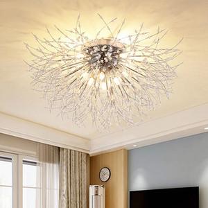 Starburst de cristal Montagem Embutida Chandelier LED G9 Nordic Stainless Steel Dandelion Teto lâmpada Art Estudo Deco Quarto Hotel