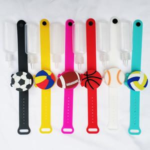 Sanitizer pulsera béisbol mano desinfectante pulsera pulsera mano silicona desinfectante dispensador portátil dibujos animados silicona pulsera AHA2168