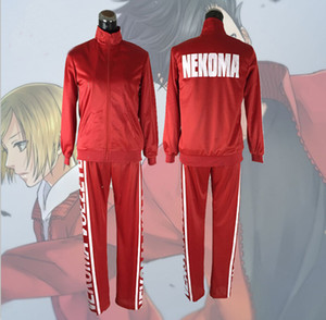 Haikyuu Nekoma High Jacket+Pants Cosplay Uniform Tetsurou Kuroo Kozume Kenma Costume Set Volleyball Team Red Sportswear Uniform