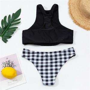 Классические бикини набор женщин черный бюстгальтер жилет + плед трусики сексуальный бикини набор бразильский пляж микро купальники толчок бикини набор женщин Q1230