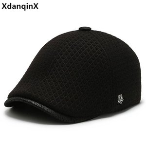 XdanqinX Middle-aged And Elderly Winter Hats Earmuffs Cap Thick Warm Berets For Men Adjustable Size Ear Protection Dad's Hat New