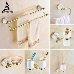 Bathroom Accessories Bath Hardware Set Golden Color Toilet Paper Holder Towel Rack Tissue Holder Cup Holder Robe Hook 5200K LJ201211