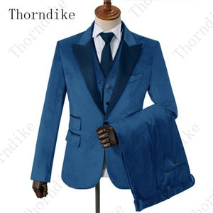 Blue Velvet Men Suits for Prom Party Men Stage Clothes With Navy Blue Peaked Lapel Wedding Groom Tuxedos Jacket Vest Pants
