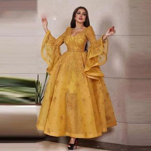 2021 Ankle Length Glitter Gold Prom Dresses Long Bell Sleeves Appliqued Sequins Sparkly Plus Size V Neck Arabic Dubai Formal Evening Gowns
