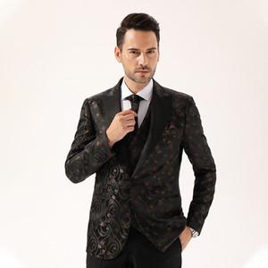 2019 spring and autumn new men's casual suit men's slim fit small suit jacquard dress suit coat