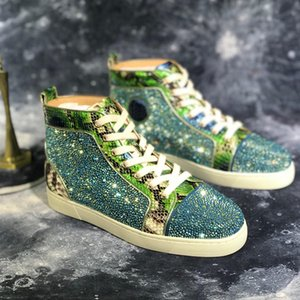 Men Sneakers Glitter Leather Shoes Mens Designers Sneaker Fashion Rhinestones Shoes For Men Loafers