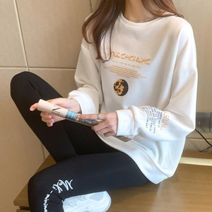 2020 Autumn Spring Women Hoodies Harajuku Letter Geometric Fashion Long Sleeve Hoody Casual Warm Sweatshirt Hoodies for Women
