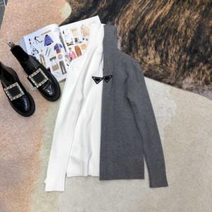 Женщины конструктор свитер с перевернутый треугольник значок Мода Женщины Тонкий Стиль черепаха шеи свитер 20FW Теплый Толстовка для женщин Размер S M L