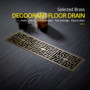 Drain 8*30CM Euro Antique Brass Art Carved Floor Drain Cover Shower Waste Drainer Bathroom Bath Accessories Strainer DL8030 200923