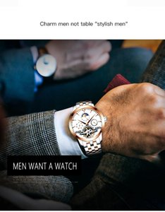 AILANG 2606 роскошные мужские автоматические часы хронографа Tourbillon сталь механические часы мужчины
