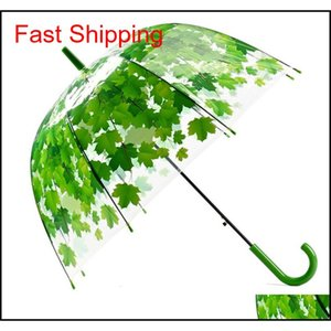 Newest Transparent Pvc Mushroom Umbrellas Green Printed Leaves Rain Clear Leaf Bubble Umbrell qylQrq packing2010
