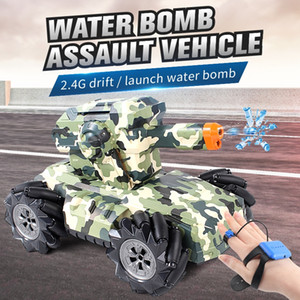 New rc car 1:12 4WD rc car 2.4hz battle game tank launches water bomb gesture induction drift rc car children's toy