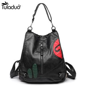 Mochila de piel hendidura bolsillo con cremallera bolsos de escuela para los adolescentes portátil Casual ordenador de viaje Negro Mujeres del bolso de hombro Q1113