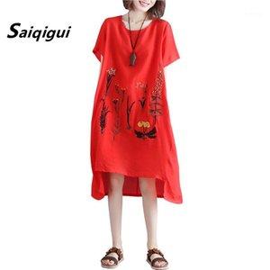 Saiqigui 2020 Moda O-cuello Vestido de verano Vestido de mujer Casual Flojo Bordado Algodón Lino Vestidos de Festa1