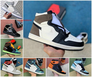 Jumpman 1 High Travis X Dark Mocha Mens Basketball Shoes Light Smoke Grey Metallic Gold 1s White UNC Chicago OG Bio Hack sneakers