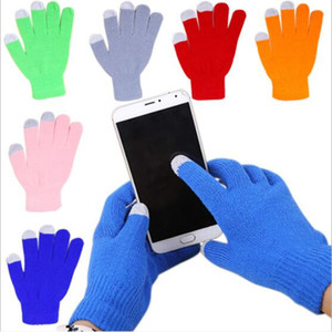 2020 Universal Winter Warm Candy Touch Screen Glove Knitted Man Woman Cotton Capacitive Screens Conductive Gloves for Smartphones