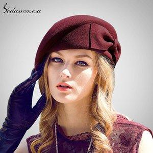 Sedancasesa Australian Wool Felt Hat Берет Женщину Британского Французского Lady Исполнитель кепка Bow Boina Feminino Шляпа для девочек беретов