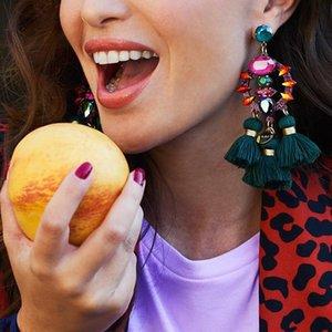 FASHIONSNOOPS Charm Fringed Bijoux Luxury Pendant Tassel Statement Earrings Hot Sale Boho Shiny Drop Dangle Earrings For Women