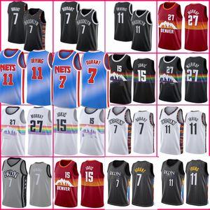 Kevin 7 Durant Jamal 27 Murray Jerseys denvents Nikola Jersey Jokic Kyrie basket Irving Black 72 Biggie Brooklyns Men Dikembe 55 Mutombo