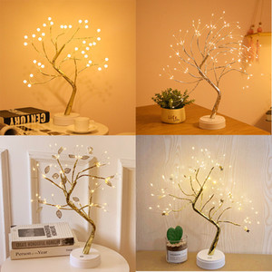 LED USB Fire Tree Light Copper Wire Table Lamps Night Light for Home Indoor Bedroom Wedding Party Bar Christmas Decoration 10pcs T1I2619