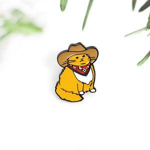 Мода мультфильм ковбойский значок прохладный и красивый кот Булавки металлические эмаль брошь личности отворачивает рюкзак ювелирные аксессуары подарок для детей
