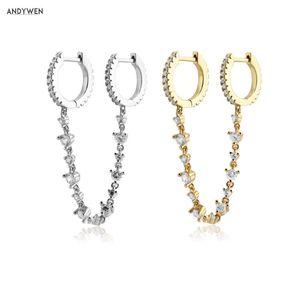 Andywen 925 Sterling Silber Klare Zirkonkette Huggies 2020 Zwei Kreis-Reifen Sicherheitsrunde Rock-Punk-Schmuck für europäische Juwelen