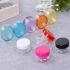 11 الألوان صندوق الصف الغذاء البلاستيك الجيل الثالث 3G / 5G جولة القاع كريم صندوق صغير زجاجة عينة مستحضرات التجميل التعبئة والتغليف مربع زجاجة الشمع الحاويات