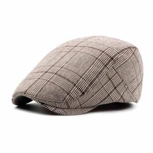 Fashion Classic Men's Beret Lattice Spring and Summer New Advanced Cap Duck Tongue Cap.