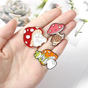 Cartoon Vegetable Mushroom Brooches Brothers Fashion Cute Enamel Pins Plant Frog Hedgehog Cat Animal Badge Costume Decoration Gift