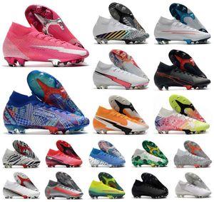 Mercurial Superfly VII 7 360 Elite SE FG Rosa Ayakkabı Panter Sancho CR7 Ronaldo Neymar Erkek Erkek Futbol Ayakkabı Futbol Boots Cleats US3-11