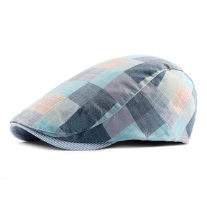 Erkek Checked Şapka Berets Spring Summer1 için Pamuk Kapaklar