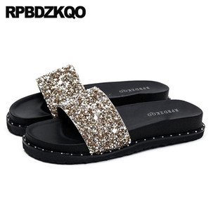 Sandals Flat 11 Nice Silver Rivet Bling Crystal Luxury Shoes Women Designer Gold Stud Plus Size Platform Slippers Diamond Slides