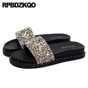 Sandals Flat 11 Nice Silver Rivet Bling Crystal Luxury Shoes Women Designer Gold Stud Plus Size Platform Slippers Diamond Slides