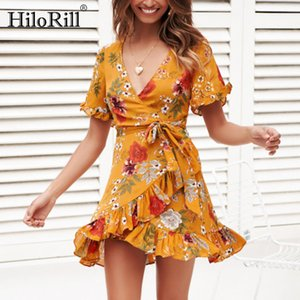Dress Women 2020 Summer Boho Floral Print Elegant Ruffles A-line Beach Dress Sexy Deep V Neck Bodycon Wrap Mini Party Dress Y200418