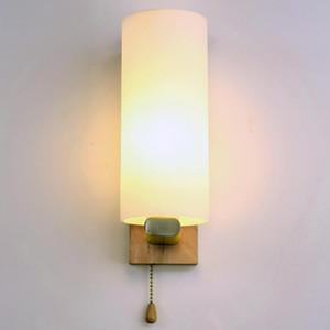 Japanese warm wooden bedside wall lamp modern simple hotel bedroom log wall lamp stair corridor corridor