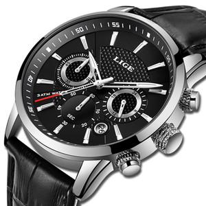 2019 neue Herrenuhren Lige Top Marke Luxus Leder Lässige Quarzuhr Männer Sport Wasserdichte Uhr Schwarz Uhr Relogio Masculino T200113