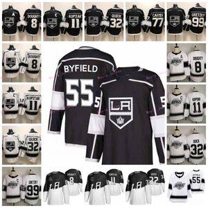 55 Quinton Byfield 2020 Estadio de la serie Los Angeles Kings 8 Drew Doughty 11 Anze Kopitar 32 Jonathan Quick 99 Wayne Gretzky del hockey jerseys
