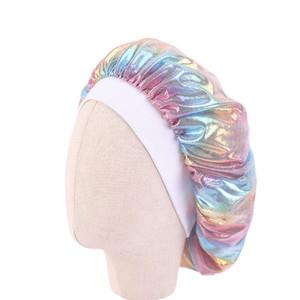 2020 New Arrival kids Satin Wide Band Bonnet Children Silky Laser Night Sleep Cap Turban Chemo Beanies Hat Headbands