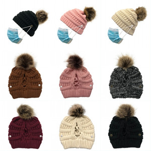 DHL Shipping Warm Caps with Button Lady Pompom Ponytail Hat Fashion Criss Cross Beanies Cap Women Winter Knitted Skull Hats Kimter-L760FA