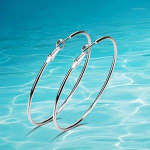 Целый Salefashion 925 серебряные серебряные сережки, звезда любимые большие серьги, женские ювелирные изделия простые круговые серьги. Hoop Серьги Бесплатная доставка1