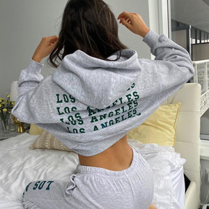 Casual Sport Women Hoodie 2020 Autumn Letter Print Long Sleeve Cropped Top Cotton Gray Streetwear Hooded Top