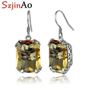 SzjinAo Okside Küpe İçin Kadınlar Sarı Topaz Siyah Süreci gümüş küpe Gerçek 925 Gümüş Sevimli Güzel Takı Hediye