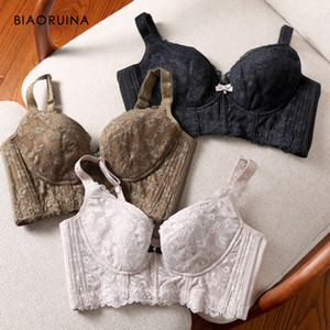 BIAORUINA Women's Push Up Comfortable Floral Lace Thin Wire Free Sexy Bras Ladies 3 4 Cup Seamless Elegant Intimates Underwear